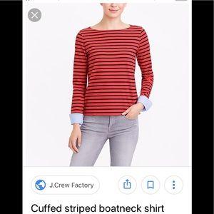 Striped boatneck top w/ chambray cuffs